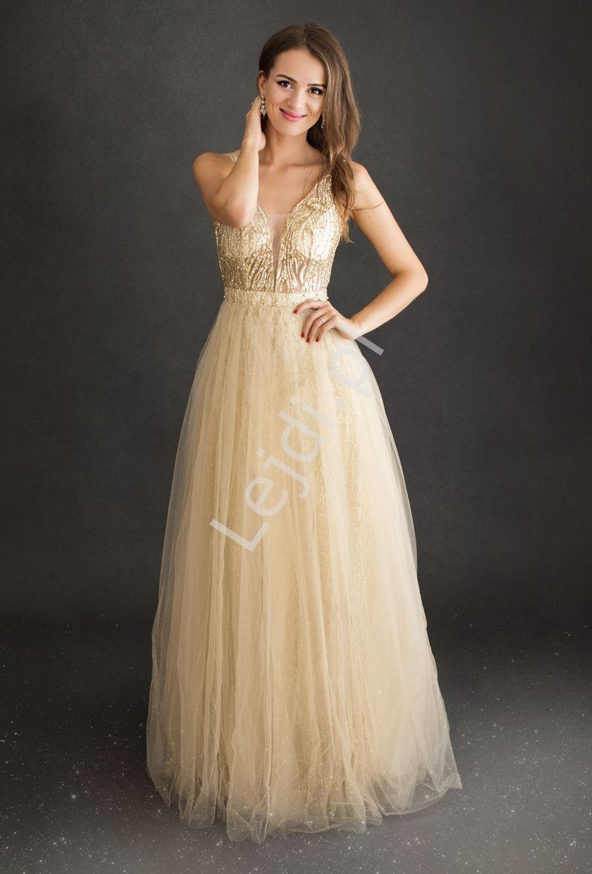 Złota sukienka wieczorowa tiulowa z górą zdobioną koronką i perełkami 2217 - Lejdi