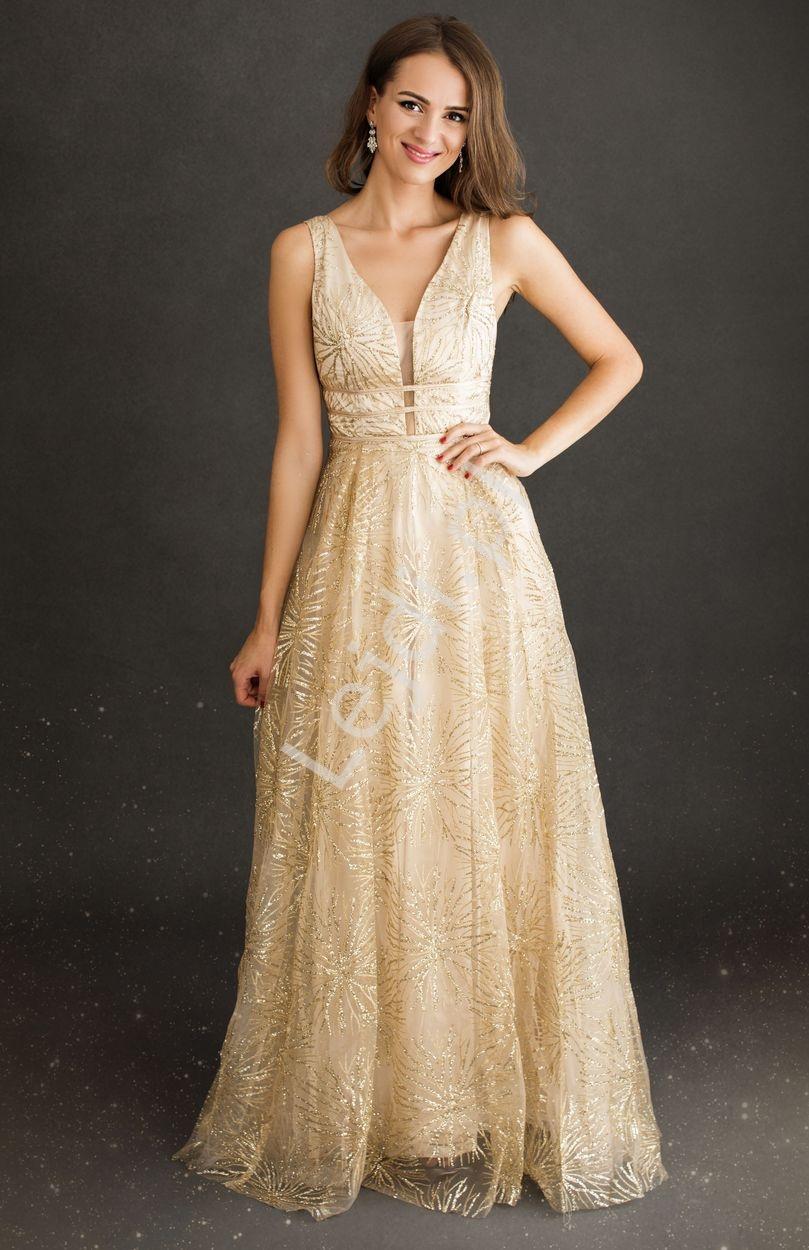 Złota sukienka wieczorowa w brokatowy kwiatowy wzór 2214 - Lejdi