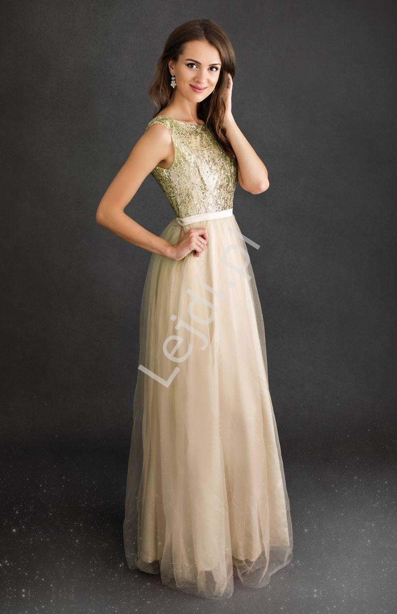 Złota sukienka z brokatową górą 2225 - Lejdi