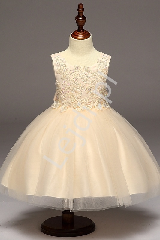 Złoto beżowa sukienka z obfitą tiulową spódnicą dla dziewczynek - Lejdi