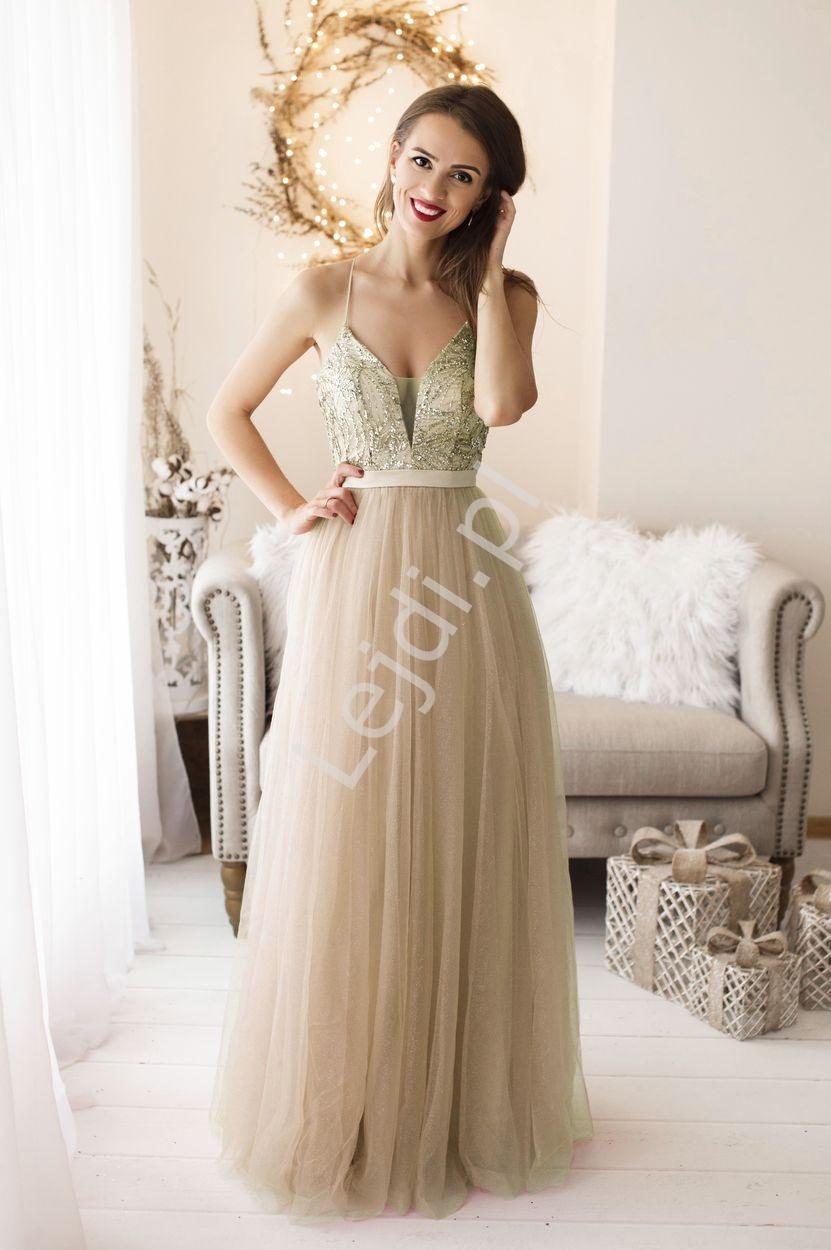 Złota tiulowa sukienka z brokatem 2236 - Lejdi