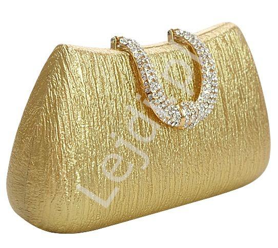 Złota torebka - przecierana metaliczna torebka z klamrą, celebrity style
