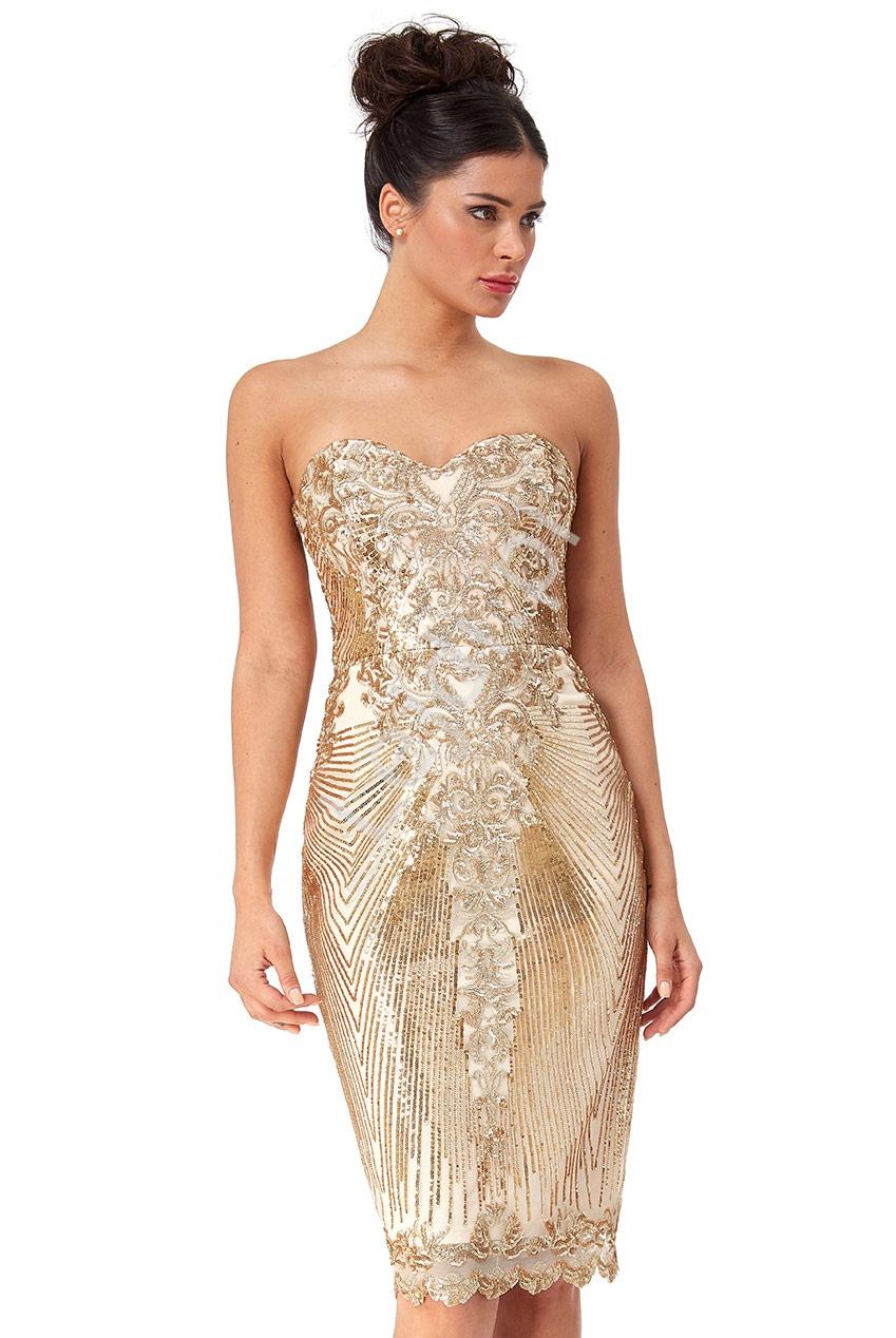Złota wystrzałowa sukienka cekinowa z odkrytymi ramionami Goddiva 2553 - Lejdi