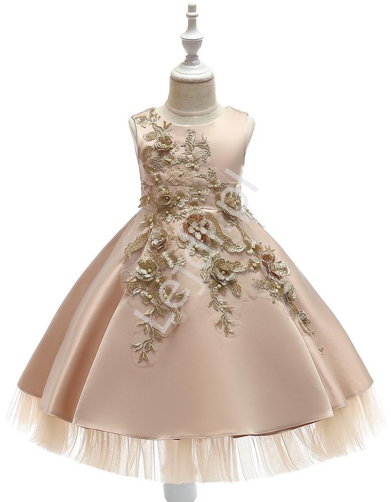 Złoto beżowa sukienka dla dziewczynki na wesele, święta - 5056 - Lejdi