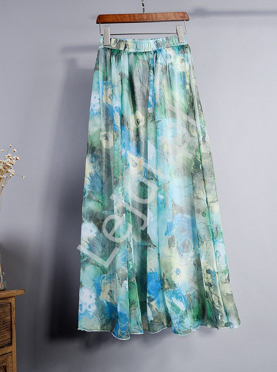 Zwiewna spódnica w kwiatowy wzór w niebieskich odcieniach 6668 - Lejdi