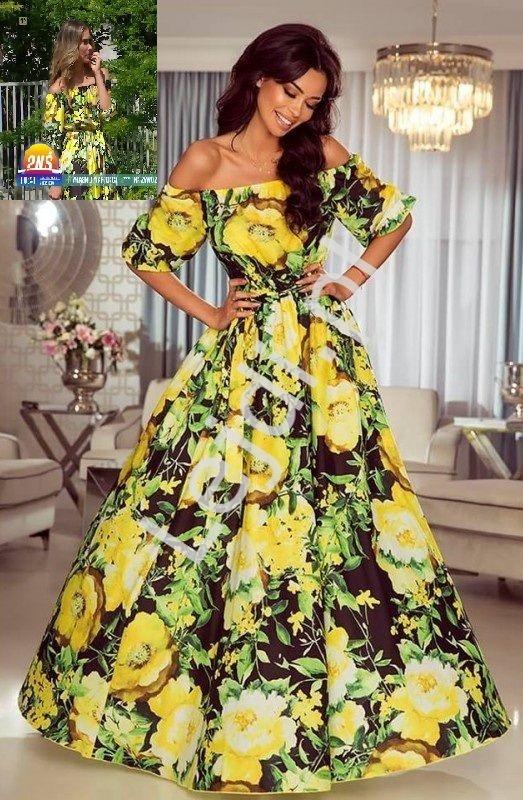 Zwiewna sukienka hiszpanka w żółte kwiaty Klara - Ida Novakowska - Lejdi