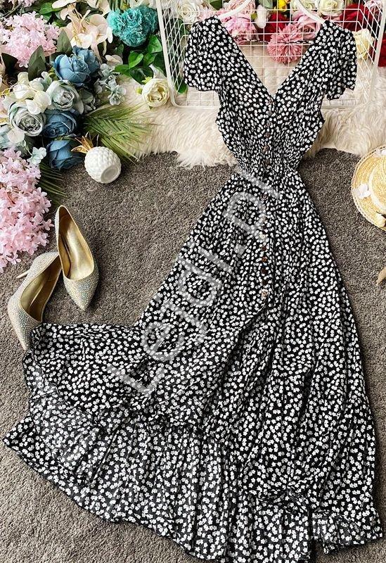 Zwiewna sukienka letnia w białe kwiaty na czarnym tle 3724 - Lejdi