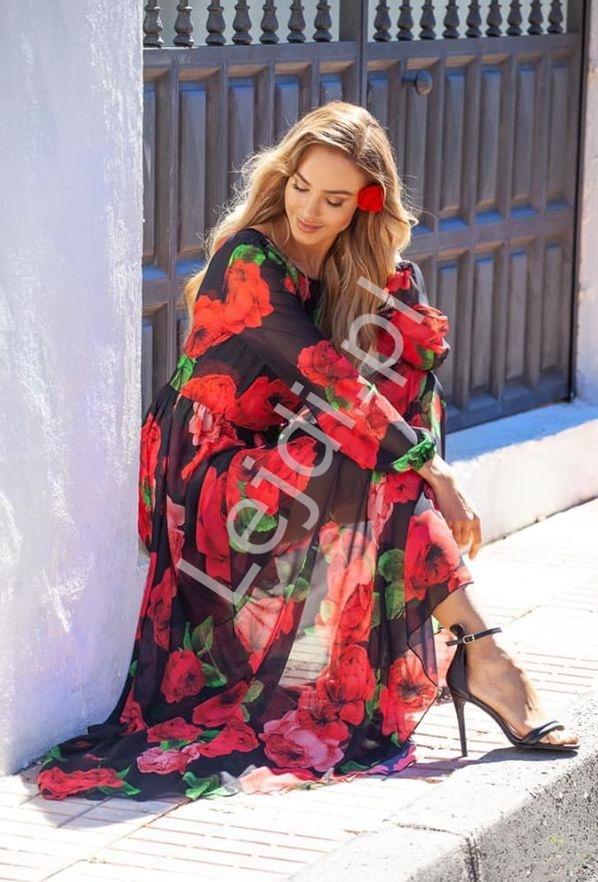 Zwiewna suknia w czerwone róże Linda - Lejdi