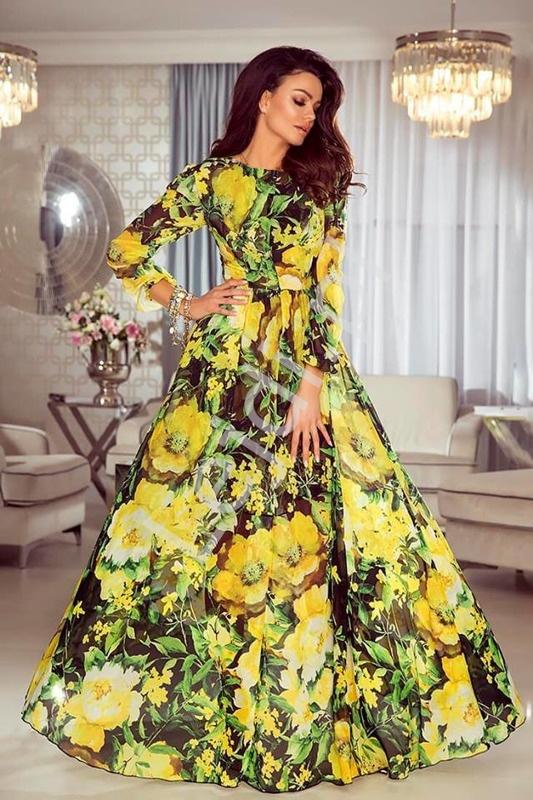 Zwiewna suknia w żółte kwiaty Linda - Lejdi